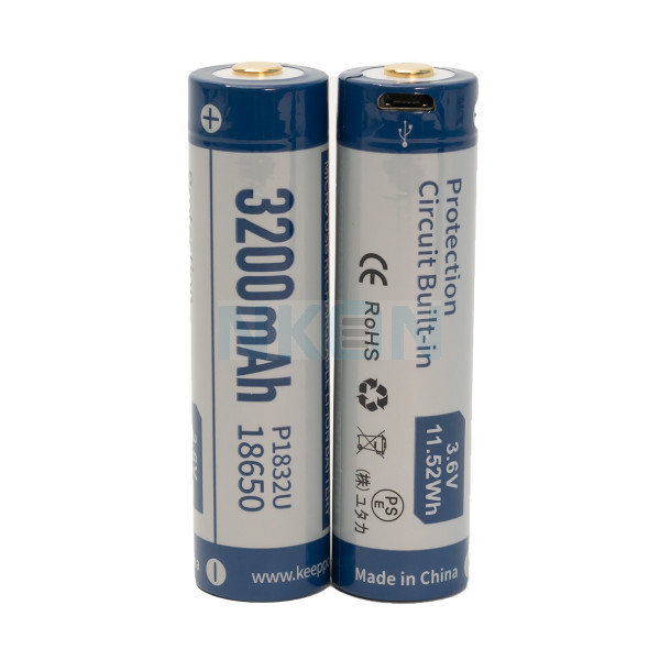 2x Keeppower 18650 3200mAh (protected) - 8A - USB