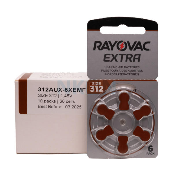 60x 312 Rayovac Extra hearing aid batteries