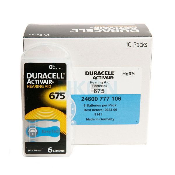 10x6 Duracell Activair 675 hearing batteries