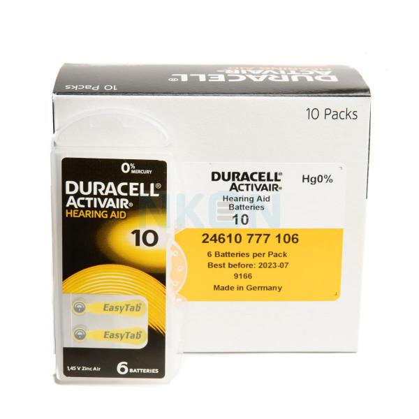 10x6 Duracell Activair 10 hearing batteries