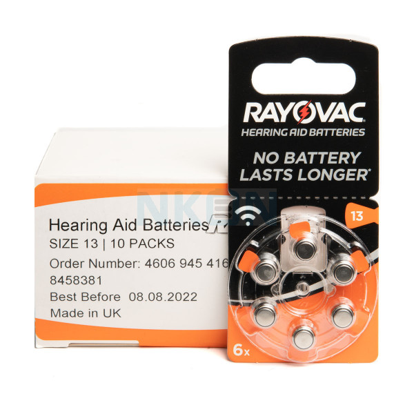 10x6 Rayovac Acoustic Special 13 hearing aid batteries