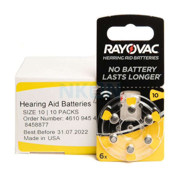 10x6 Rayovac Acoustic Special 10 hearing aid batteries
