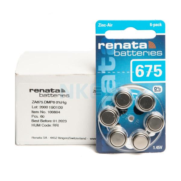 60x 675 Renata ZA hearing aid batteries