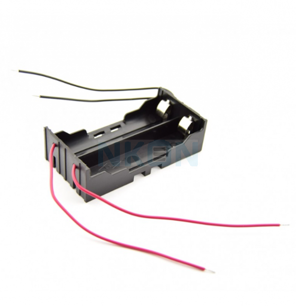 2x 18650 Battery holder with clamp contacts and loose wires
