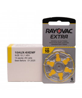 60x 10 Rayovac Extra hearing aid batteries