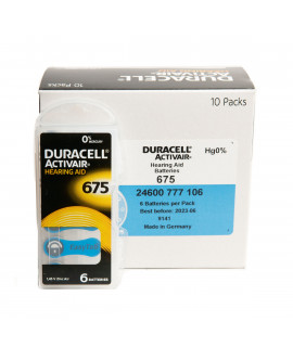 60x 675 Duracell Activair hearing aid batteries