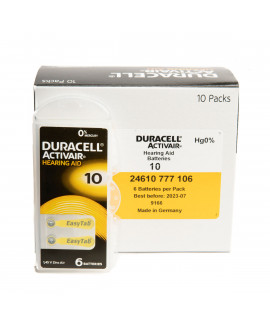 60x 10 Duracell Activair hearing aid batteries
