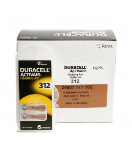 60x 312 Duracell Activair hearing aid batteries