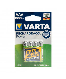 4 AAA Varta Recharged Battery Power - blister - 1000mAh