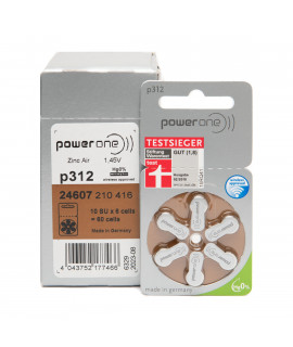 60x 312 PowerOne hearing aid batteries